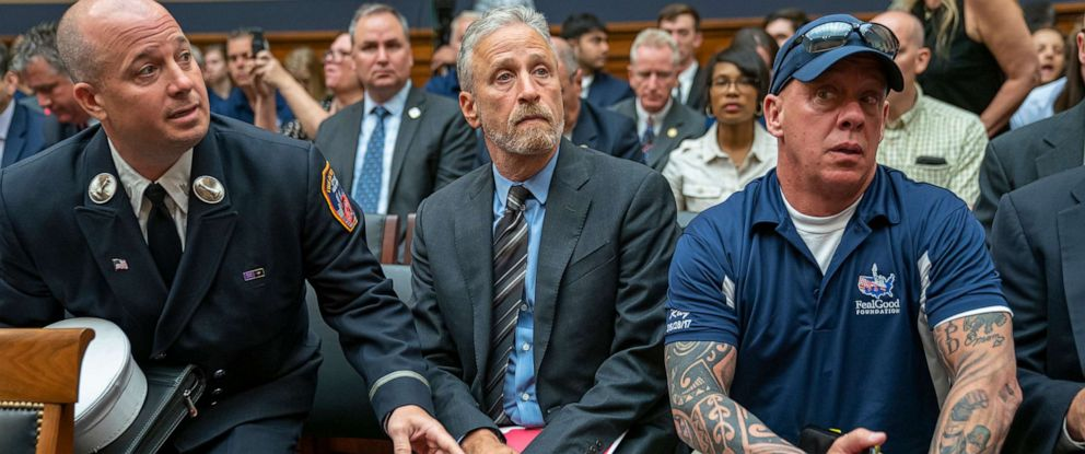 PHOTO: Entertainer and activist Jon Stewart lends his support to firefighters, first responders and survivors of the September 11 terror attacks at a hearing on Capitol Hill in Washington, June 11, 2019.