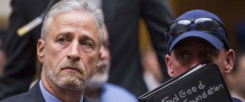 PHOTO:Former Daily Show Host Jon Stewart and FealGood Foundation co-founder John Fealis before testifying during a House Judiciary Committee hearing on Capitol Hill, June 11, 2019 in Washington, D.C.