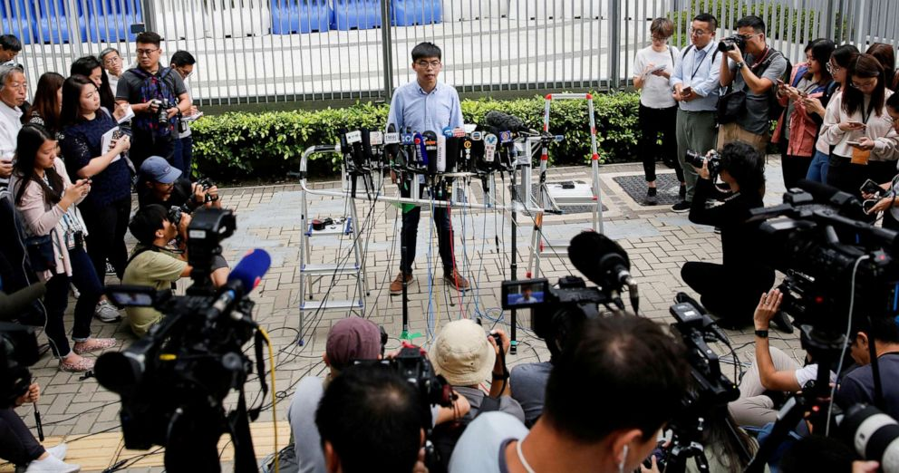 PHOTO: Pro-democracy activist Joshua Wong speaks to journalists after being disqualified from running in Novembers local districts council elections, in Hong Kong, Oct. 29, 2019.