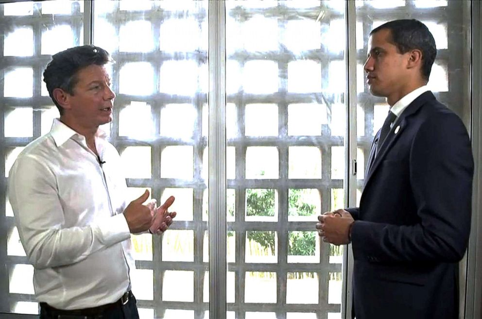 PHOTO: ABC News Ian Pannell interviews Venezuelan opposition leader and self-proclaimed acting president Juan Guaido.
