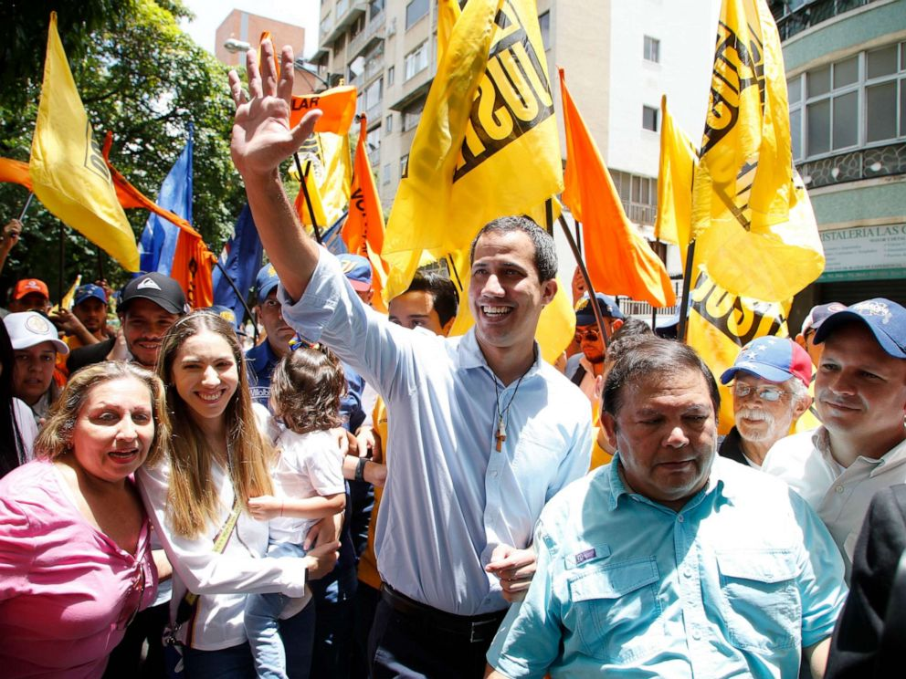 PHOTO: Venezuelas National Assembly President and self proclaimed interim President Juan Guaido gestures to supporters during a citizens assembly in the Municipality of Baruta, Caracas, Venezuela, Sept 14, 2019.