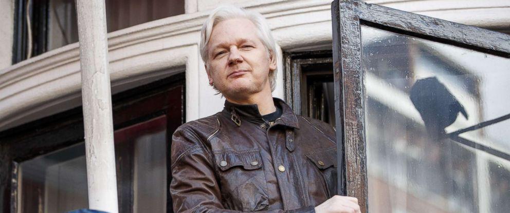 PHOTO: Wikileaks founder Julian Assange speaks on the balcony of Ecuadorian embassy on May 19, 2017 in London.