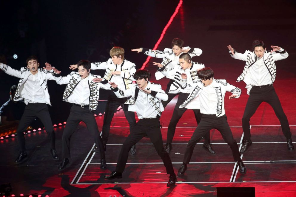 PHOTO: South Korean boy group EXO perform onstage during their The ElyXiOn concert, Feb. 10, 2018, in Taipei, Taiwan.