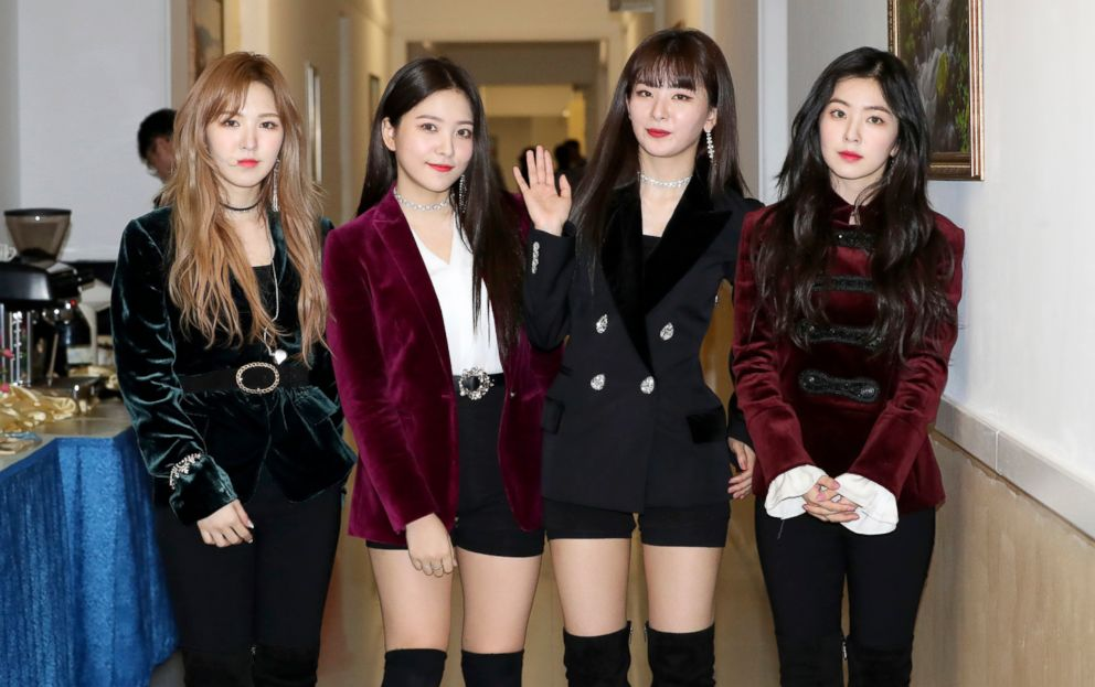 PHOTO: South Korean girl band Red Velvet is seen after their performance in Pyongyang, North Korea, April 1, 2018.