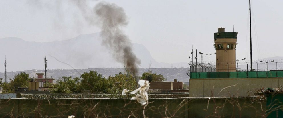 PHOTO: Smoke billows from the scene after six rockets were fired near Kabul airport following the arrival of U.S. Defense Secretary General James Mattis and NATOs Jens Stoltenberg in Kabul, Afghanistan, Sept. 27, 2017.