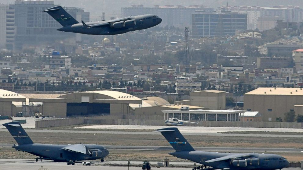 PHOTO: A U.S. Air Force aircraft takes off from the airport in Kabul, Afghanistan, on Aug. 30, 2021.