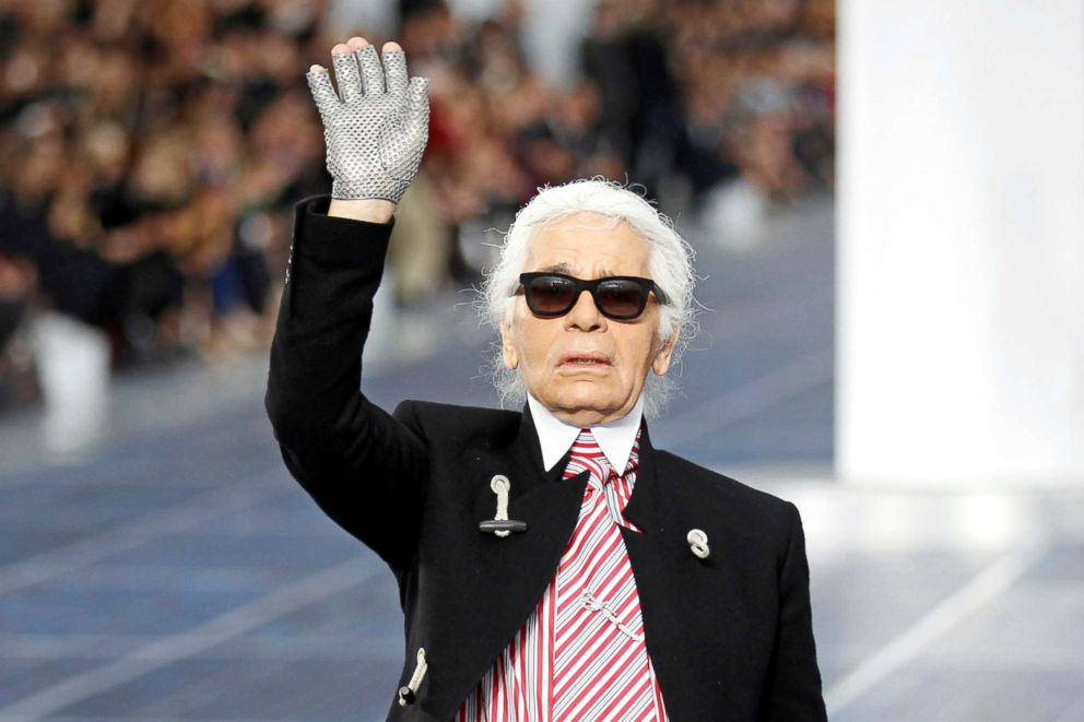 PHOTO: German designer Karl Lagerfeld appears at the end of his Spring/Summer 2013 womens ready-to-wear fashion show for French fashion house Chanel during Paris fashion week, Oct. 2, 2012.