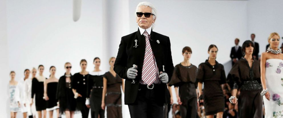 PHOTO: German designer Karl Lagerfeld appears at the end of his Spring/Summer 2013 womens ready-to-wear fashion show for French fashion house Chanel during Paris fashion week Oct. 2, 2012.