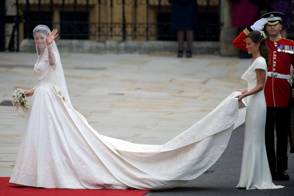 9 wedding dresses worn by royal brides abc news photo catherine middleton arrives for her wedding to prince william at westminster abbey on april junglespirit Images