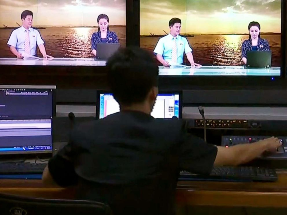 PHOTO: North Korea's propaganda channel broadcasted its control room on television for the first time.