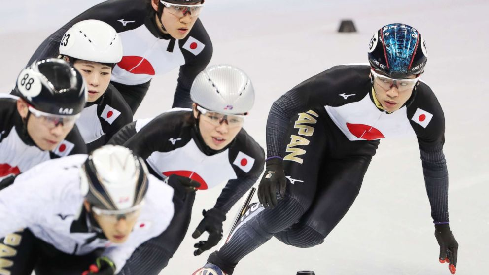 Short track speed skater Kei Saito (R) of Japan during a training session with teammates prior to the PyeongChang 2018 Olympic Gams in Gangneung, South Korea, Feb. 6, 2018. On Feb. 13, Saito became the first athlete to be suspended for a positive drug test during the PyeongChang Olympic Games 2018.