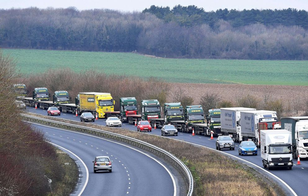 PHOTO: A line of lorries waits near the Port of Dover in Kent, Britain, Jan. 7, 2019.