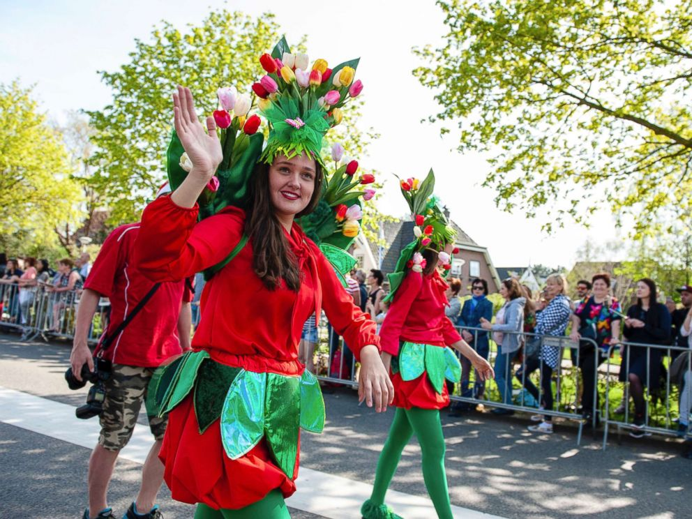 PHOTO: The 71st edition of the Bollenstreek (bulb growing area) Bloemencorso will follow a 25 mile route from Noordwijk to Haarlem, April 21, 2018, Lisse, The Netherlands.