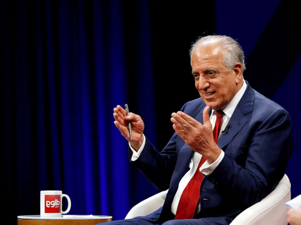 PHOTO: U.S. envoy for peace in Afghanistan Zalmay Khalilzad speaks during a debate at Tolo TV channel in Kabul, Afghanistan, April 28, 2019.