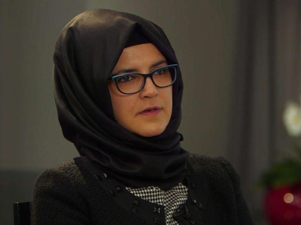 PHOTO: Hatice Cengiz, the fiancee of slain journalist Jamal Khashoggi, talks to a reporter from ABC News.