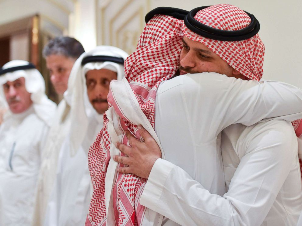 PHOTO: Salah Khashoggi, son of Saudi journalist Jamal Khashoggi, hugs a man offering condolences in Jeddah, Saudi Arabia, Nov. 16, 2018.