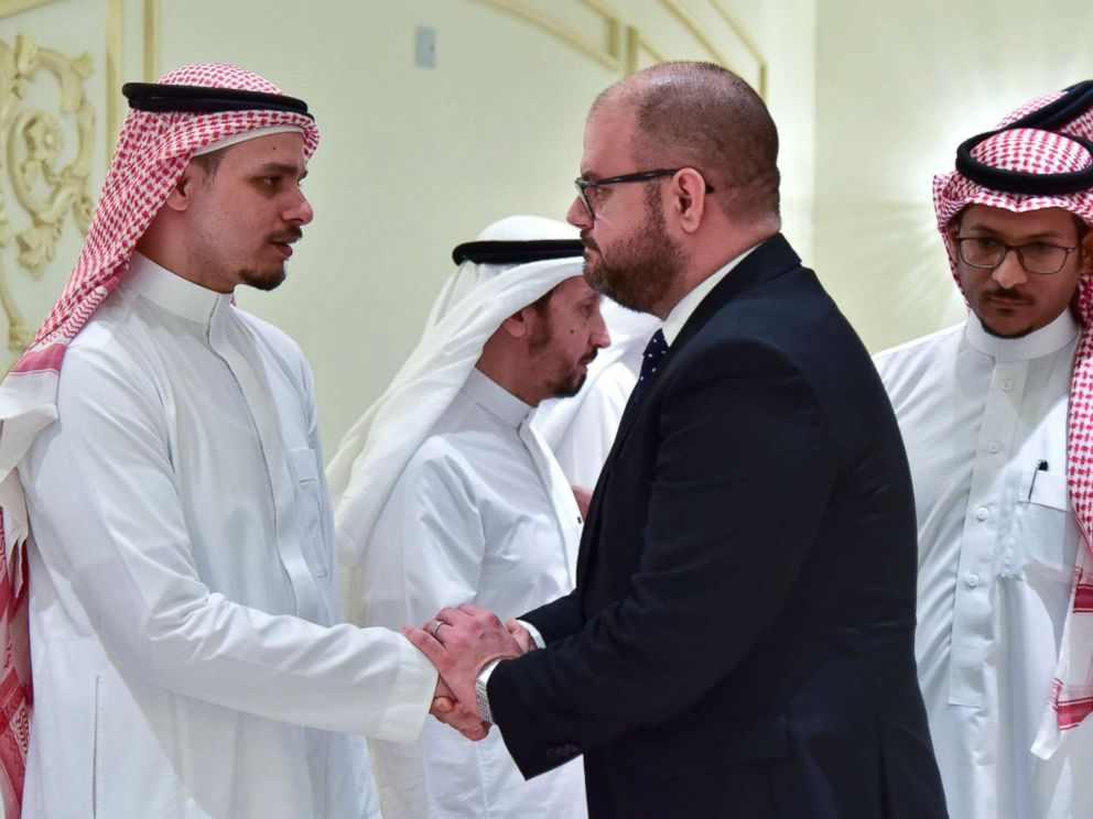 PHOTO: Salah Khashoggi, son of Saudi journalist Jamal Khashoggi, receives condolences from Ryan M. Gliha, Consul General of the U.S. consulate, in Jeddah, Saudi Arabia Nov. 16, 2018.