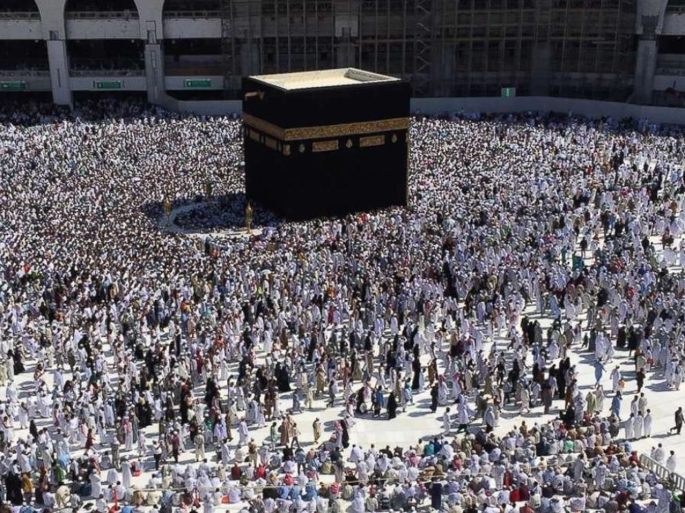 PHOTO: Muslims gather around the Kaaba, Islams holiest shrine, to take part in the absentee funeral prayer for Saudi journalist Jamaal Khashoggi, at the Grand Mosque in Saudi Arabias holy city of Mecca on Nov. 16, 2018.