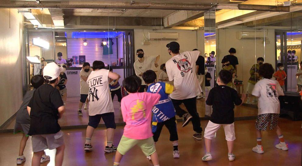PHOTO: Children learn K-pop dance at Shine Dance Academy in Seoul, June 25, 2021.