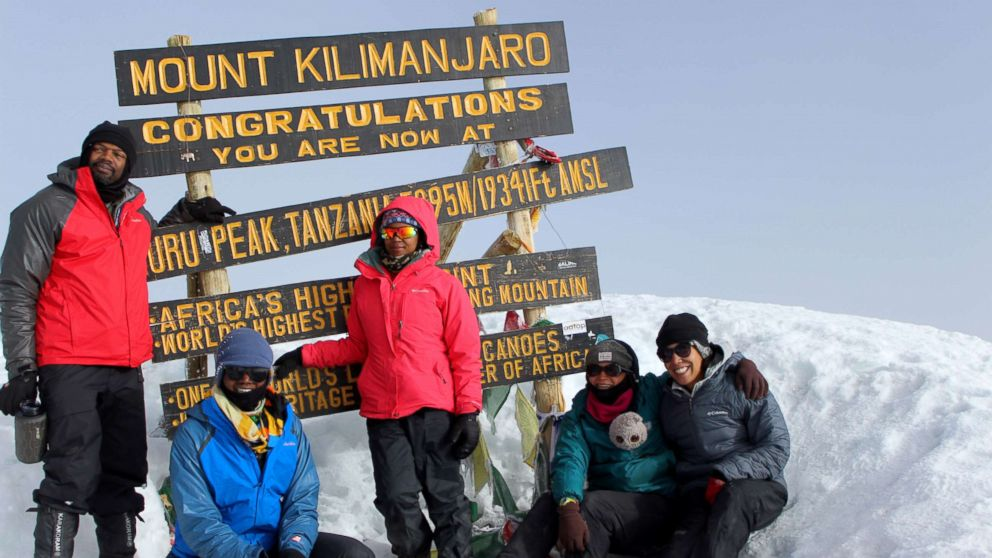 The five members that made it to top of Mount Kilimanjaro, Africa's highest mountain in Tanzania. From left to right: Olatunde Gholahan, Leandra Taylor, Chaya Harris, Rosemary Saal and Alora Jones.