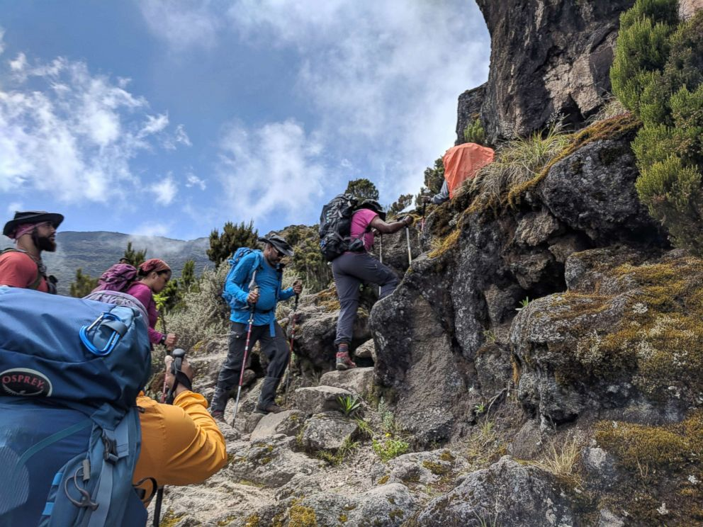 PHOTO: The group climbed steep to the Barranco wall with some sections of scrambling and then dropping down again to the Karanga Valley.