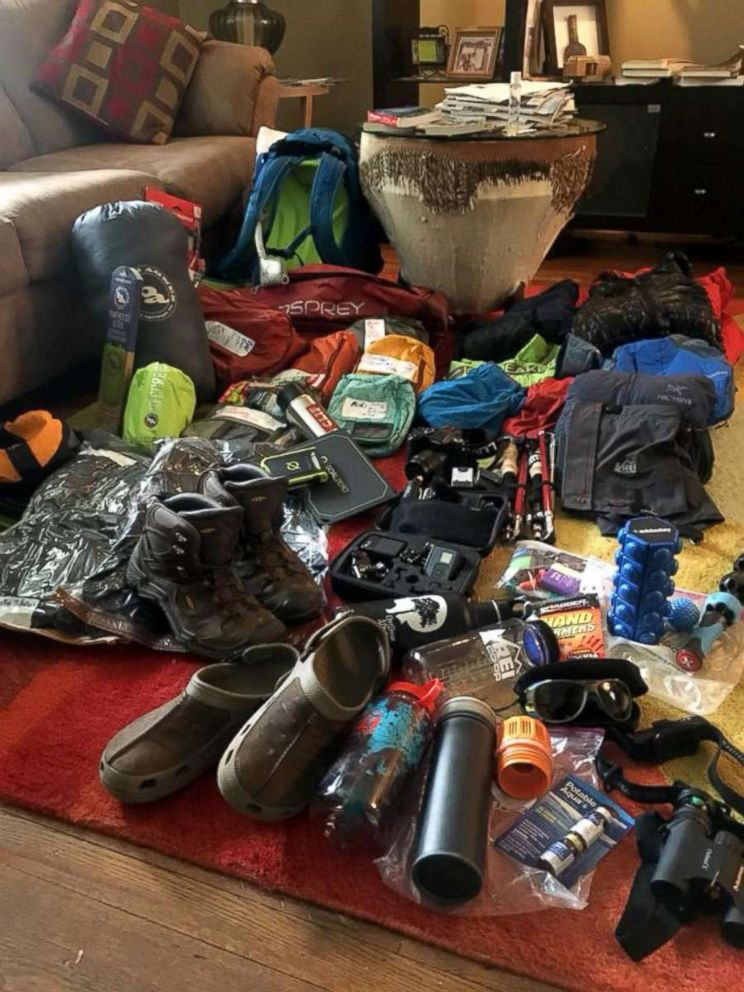 PHOTO: The climbers required an extensive gear back for the journey, gear lay downs were an opportunity for the group to see all their resources.