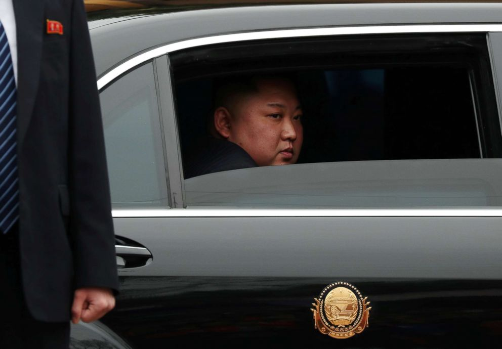 North Korea's leader Kim Jong Un sits in his vehicle after arriving at the Dong Dang railway station, in Vietnam, at the border with China, Feb. 26, 2019.