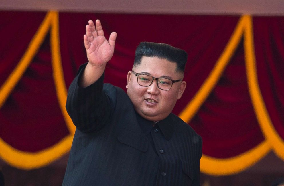 PHOTO: North Korean leader Kim Jong Un waves as he attends a parade marking the 70th anniversary of North Koreas founding day in Pyongyang, North Korea, Sept. 9, 2018.