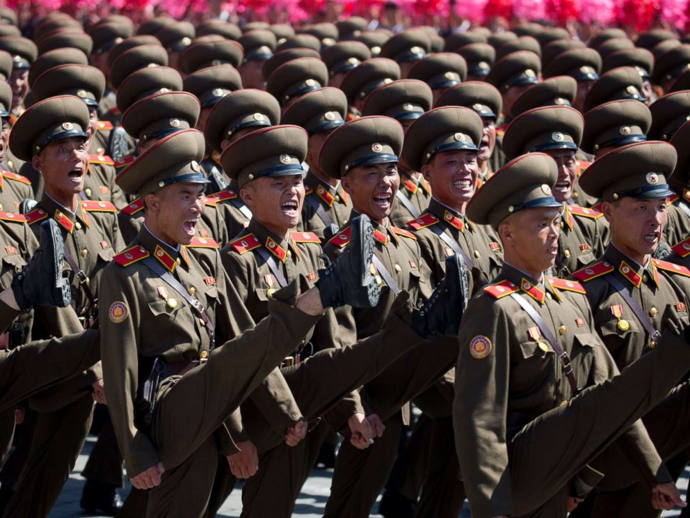 PHOTO: Soldiers march in a parade for the 70th anniversary of North Koreas founding day in Pyongyang, North Korea, Sept. 9, 2018.