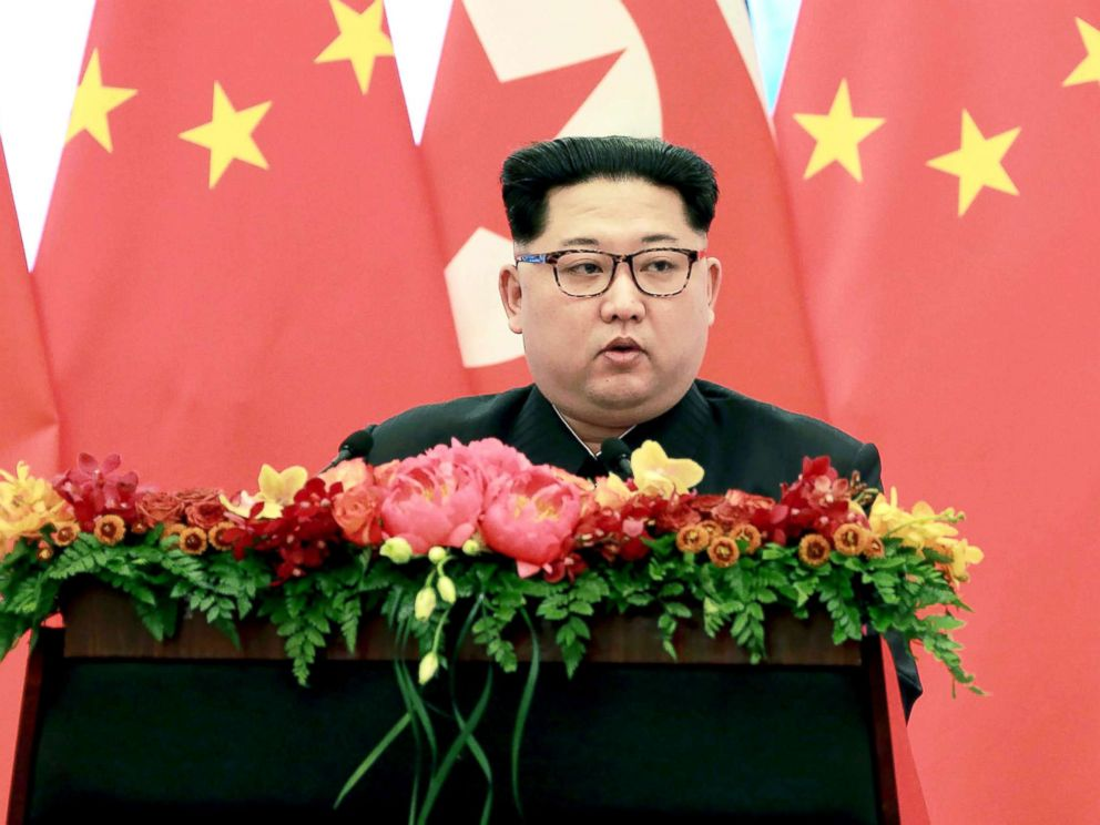 PHOTO: Kim Jong Un delivers a speech at the Great Hall of the People in Beijing, March 28, 2018.