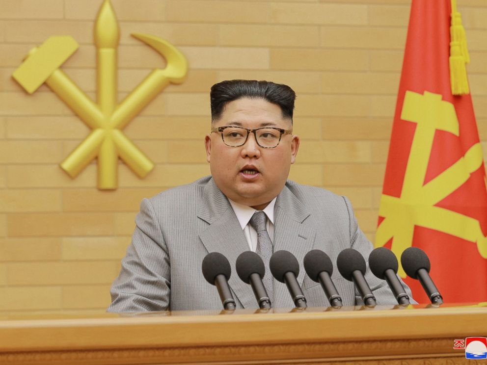 PHOTO: North Korean leader Kim Jong Un delivers his New Years speech at an undisclosed place in North Korea, Jan. 1, 2018.