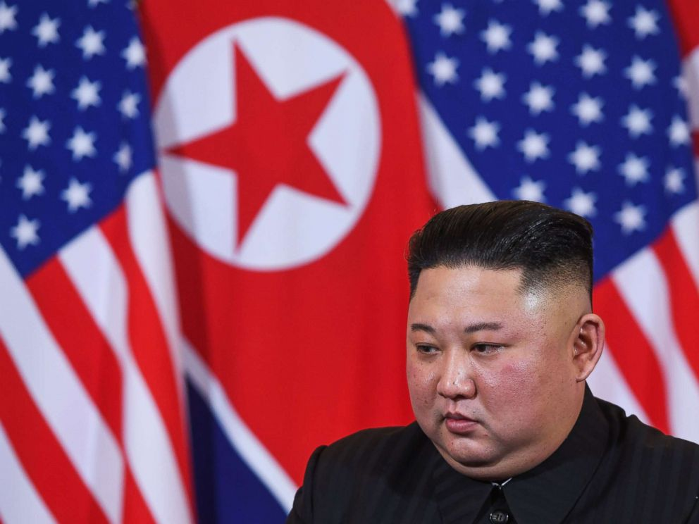 PHOTO: North Koreas leader Kim Jong Un listens to President Donald Trump during a meeting at the Sofitel Legend Metropole hotel in Hanoi, Feb. 27, 2019.