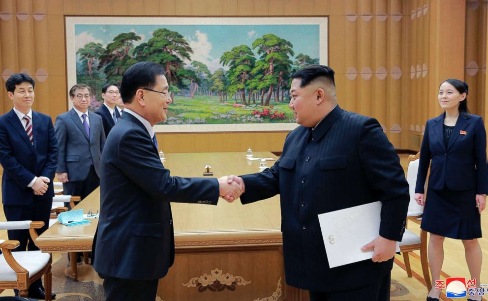 PHOTO: North Korean leader Kim Jong Un, right, shakes hands with South Korean National Security Director Chung Eui-yong after Chung gave Kim the letter from South Korean President Moon Jae-in, in Pyongyang, North Korea, March 5, 2018.