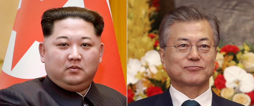 PHOTO: North Korean leader Kim Jong Un, left, March 28, 2018 and South Korean President Moon Jae-in, right, March 23, 2018.