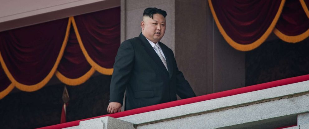 PHOTO: North Korean leader Kim Jong-Un walks on a balcony of the Grand Peoples Study house in Pyongyang on April 15, 2017.