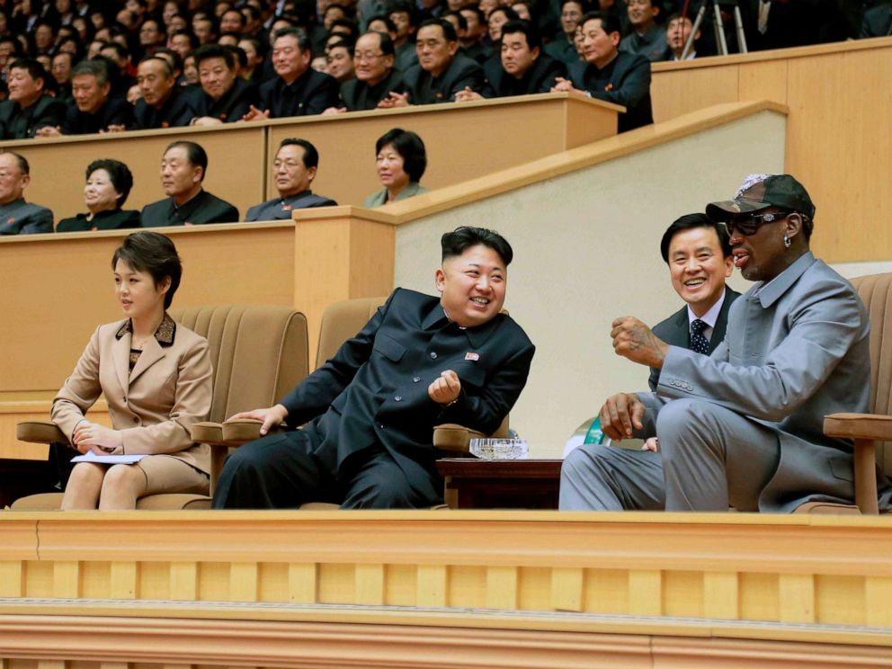 PHOTO: North Korean leader Kim Jong Un watches a basketball game between former NBA basketball players and North Korean players of the Hwaebul team of the DPRK with Dennis Rodman, Jan. 9, 2014.
