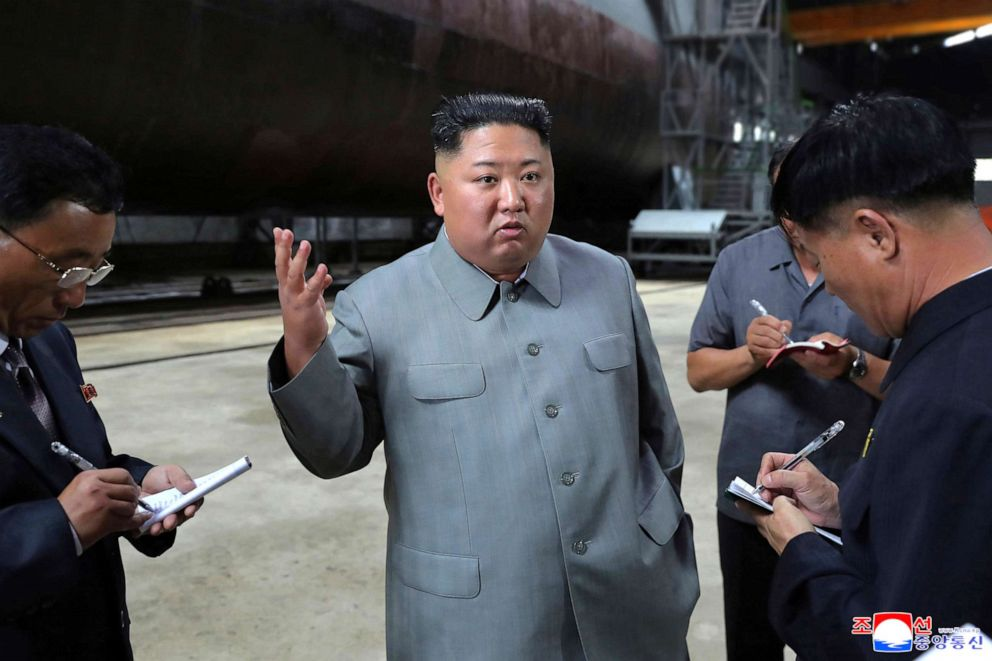 PHOTO: North Korean leader Kim Jong Un visits a submarine factory in an undisclosed location, North Korea, in this undated picture released by North Koreas Central News Agency, July 23, 2019.