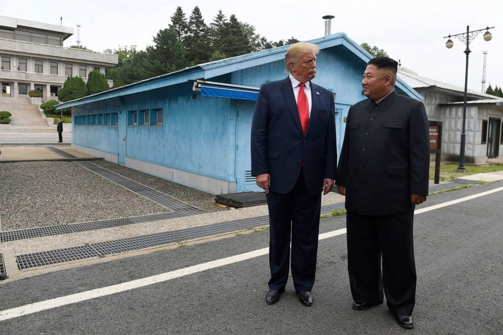 PHOTO: In this June 30, 2019, file photo, President Donald Trump meets with North Korean leader Kim Jong Un at the border village of Panmunjom in Demilitarized Zone, South Korea.