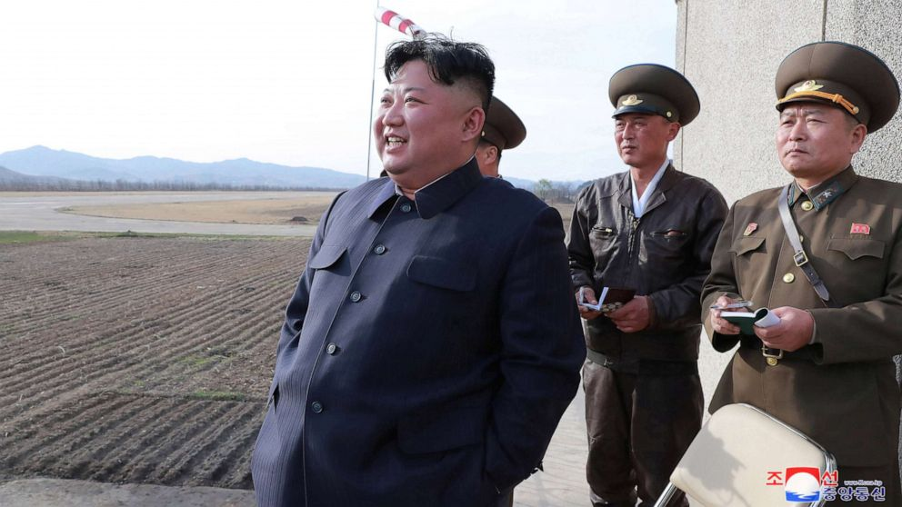 North Korean leader Kim Jong Un gives guidance while attending a flight training of Unit 1017 of the Korean People's Army Air, Anti-Air Force at undisclosed location in this April 16, 2019 photo.