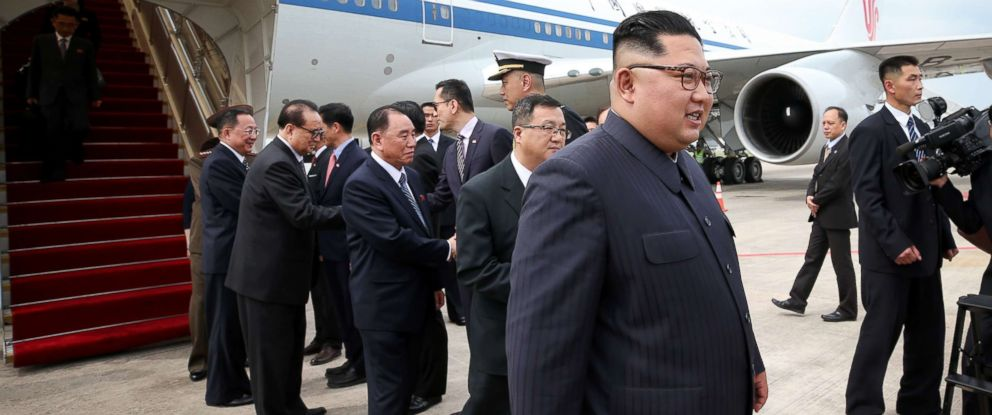 Kim Jong Un, right, arrives in Singapore for North Koreas summit with U.S. President Donald Trump on Sunday, June 10, 2018.