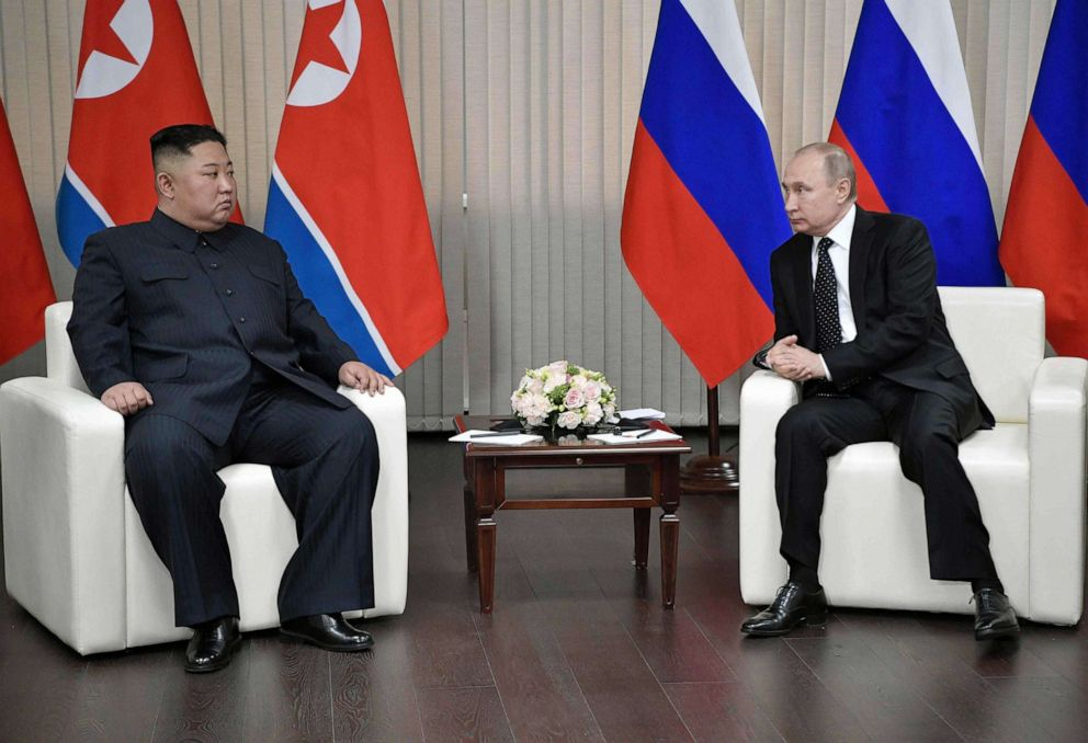 PHOTO: TOPSHOT - Russian President Vladimir Putin meets with North Korean leader Kim Jong Un at the Far Eastern Federal University campus on Russky island in the far-eastern Russian port of Vladivostok on April 25, 2019.
