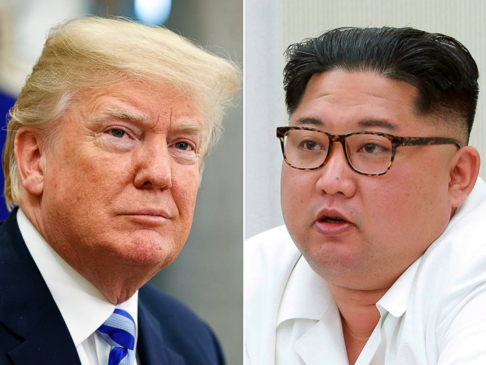 This combination of file photos show U.S. President Donald Trump, left, in the Oval Office of the White House in Washington on May 16, 2018, and North Korean leader Kim Jong Un during a meeting in North Korea, in the photo provided on May 18, 2018.