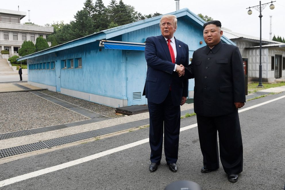 PHOTO: President Donald Trump meets with North Korean leader Kim Jong Un at the border village of Panmunjom in the Demilitarized Zone, South Korea, June 30, 2019.