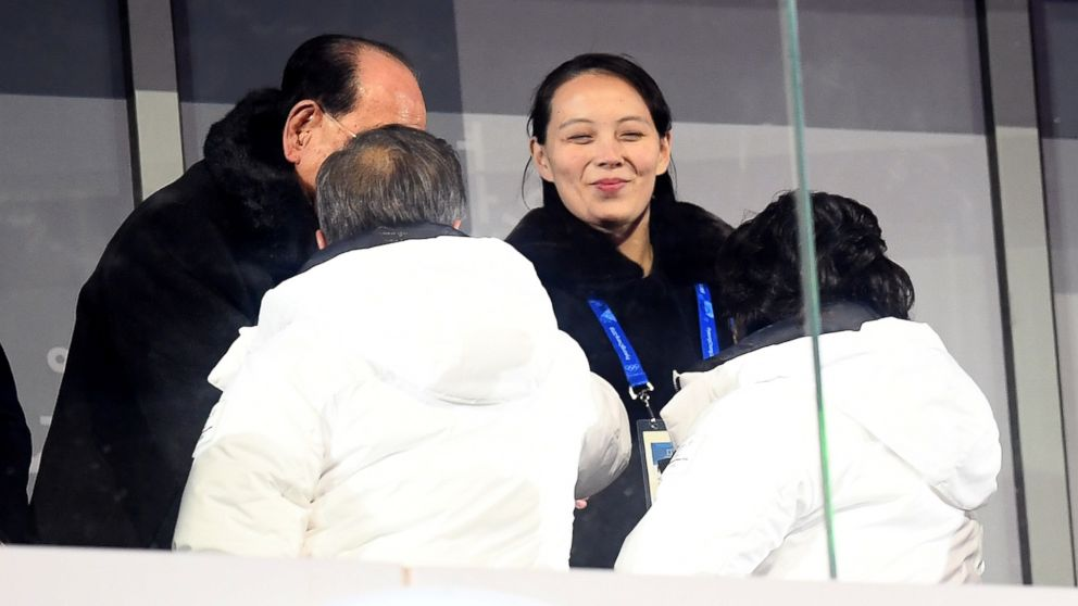 Kim Yo-Jong shakes hands with  President of South Korea, Moon Jae-in during the Opening Ceremony of the PyeongChang 2018 Winter Olympic Games at PyeongChang Olympic Stadium on Feb. 9, 2018