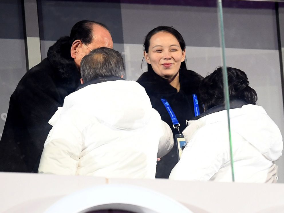 PHOTO: Kim Yo-Jong shakes hands with President of South Korea, Moon Jae-in during the Opening Ceremony of the PyeongChang 2018 Winter Olympic Games at PyeongChang Olympic Stadium on Feb. 9, 2018