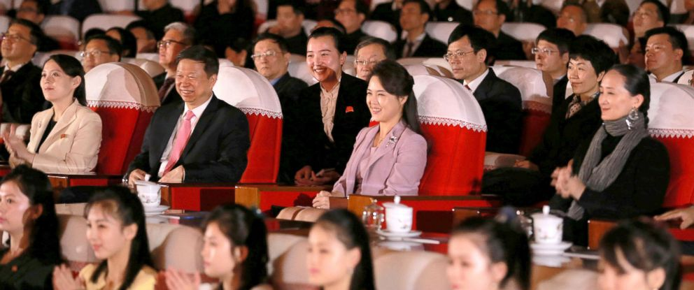 PHOTO: North Korean First Lady Ri Sol Ju watches a ballet with Choe Ryong Hae, Ri Su Yong, Kim Yong Chol, Kim Yo Jong, Pak Chun Nam and other senior party and government officials in this handout photo, April 15, 2018.