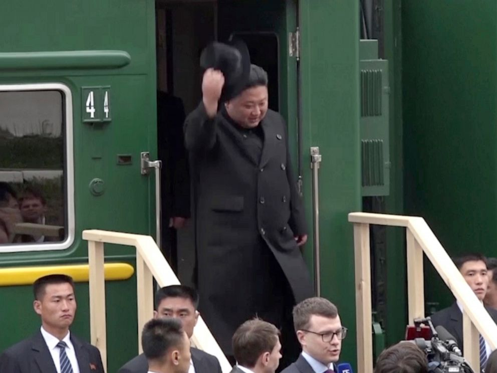 PHOTO: North Korean leader Kim Jong Un gets off a train upon arrival at Khasan train station in Primorye region, Russia, Wednesday, April 24, 2019.