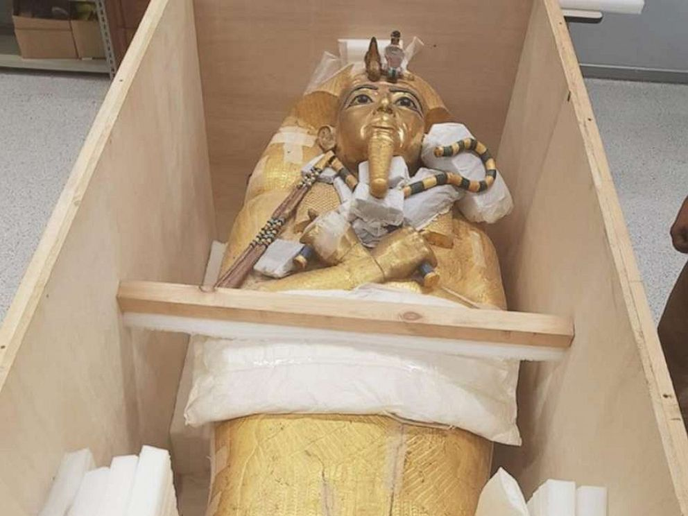 PHOTO: A handout photo made available by Egyptian Ministry Of Antiquities on July 17, 2019, shows King Tutankhamuns gold coffin after it was transported to undergo a restoration process at the Grand Egyptian Museum in Cairo.
