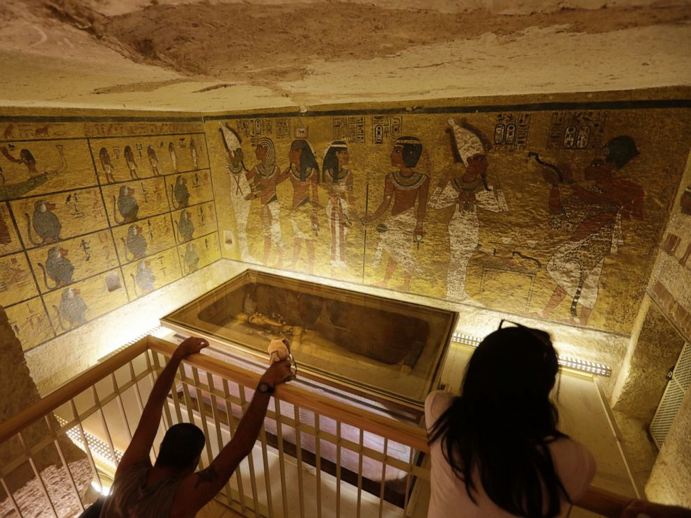 PHOTO: In this Thursday, Nov. 5, 2015, file photo, tourists look at the tomb of King Tut as it is displayed in a glass case at the Valley of the Kings in Luxor.