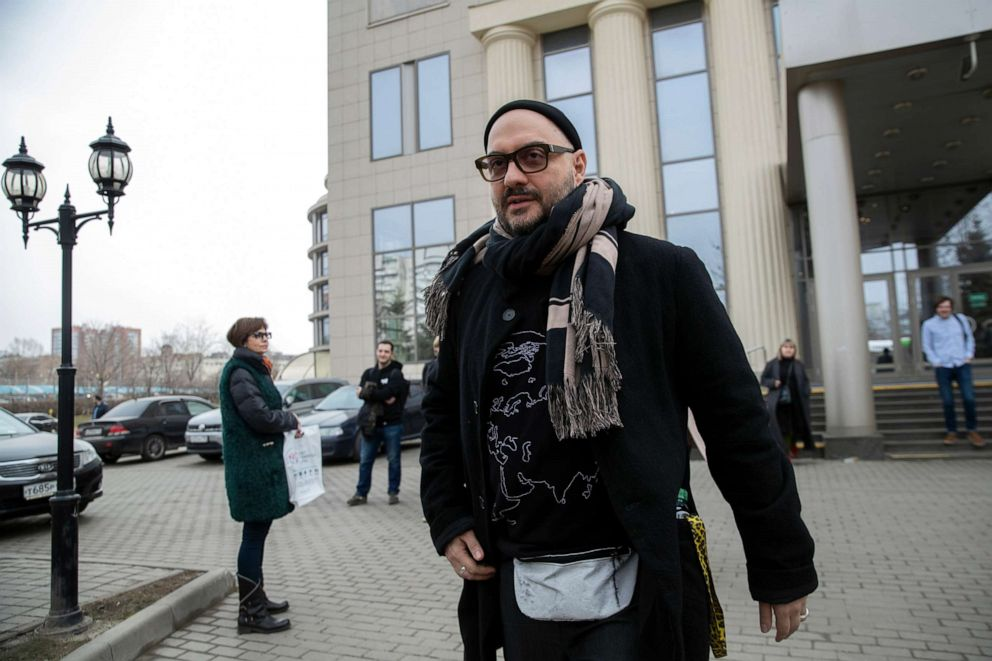 Russian theater and film director Kirill Serebrennikov leaves a court after a hearing in Moscow, Russia, April 8, 2019.